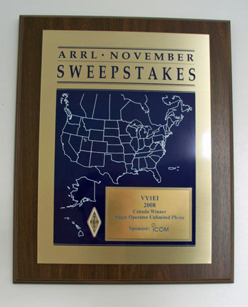 ARRL Sweepstakes Plaque VY1EI 2008